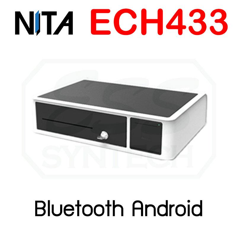 ลิ้นชักเก็บเงินไร้สาย Bluetooth และเครื่องพิมพ์ใบเสร็จในตัว NITA ECH-433 6 ช่องธนบัตร 3 ช่องเหรียญ ต่อมือถือ ต่อแอนดรอย์ Android