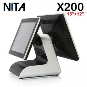 เครื่อง pos แบบสองหน้าจอ เครื่องแคชเชียร์ เครื่องคิดเงินร้านอาหาร เครื่องคิดเงิน pos เครื่อง pos ราคา เครื่อง pos all in one เครื่องขายหน้าร้าน NITA X200 Touch screen Windows POS System 15+12.1 inch display touch screen pos terminal dual touch screen touch device Aluminum alloy base WiFi intel core i3