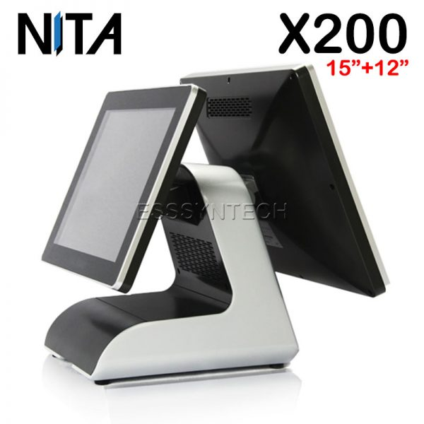 NITA-X200-Touch-screen-Windows-POS-System-15+12.1-inch-display-touch-screen-pos-terminal-dual-touch-screen-touch-device-Aluminum-alloy-base-WiFi-intel-core-i3-6