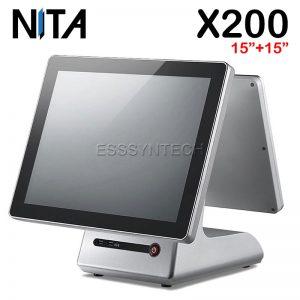 เครื่อง pos แบบสองหน้าจอ เครื่องแคชเชียร์ เครื่องคิดเงินร้านอาหาร เครื่องคิดเงิน pos เครื่อง pos ราคา เครื่อง pos all in one เครื่องขายหน้าร้าน NITA X200 Touch screen Windows POS System 15+15 inch display touch screen pos terminal dual touch screen touch device Aluminum alloy base WiFi intel core i3