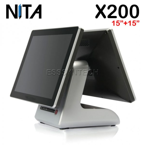 NITA-X200-Touch-screen-Windows-POS-System-15+15-inch-display-touch-screen-pos-terminal-dual-touch-screen-touch-device-Aluminum-alloy-base-WiFi-intel-core-i3