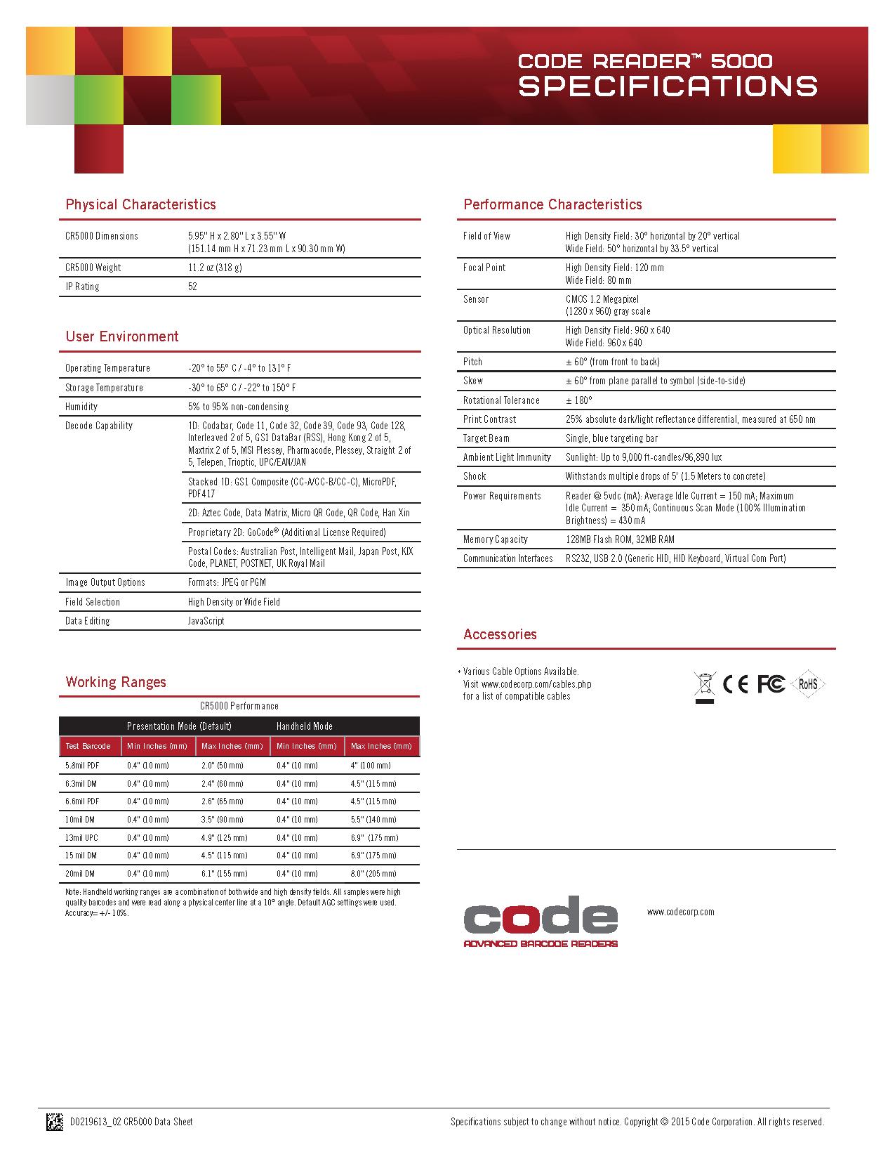Code CR5000 Desktop Barcode Scanner เครื่องอ่านบาร์โค้ดแบบตั้งโต๊ะ หัวอ่าน 2 มิติ Data Sheet