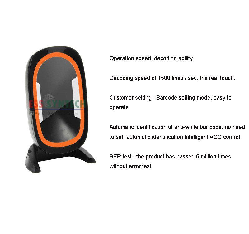 HC666 เครื่องอ่านบาร์โค้ดแบบตั้งโต๊ะ QR Code Barcode Scanner อ่านบาร์โค้ด Hand -free Desktop Barcode Scanner USB