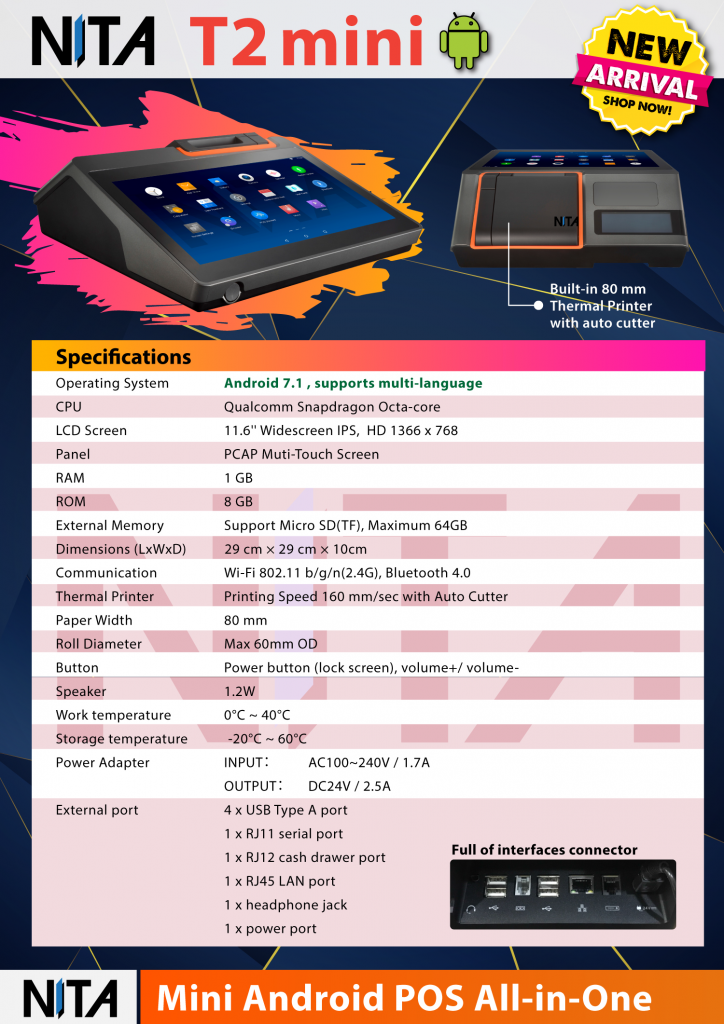 NITA T2 mini Android POS All in One ระบบขายหน้าร้านแบบครบวงจร