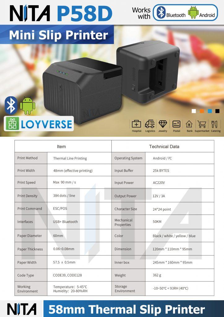 NITA 58 Slip Printer P58D Bluetooth Printer รองรับ Android Loyverse POS ไม่ใช้หมึก