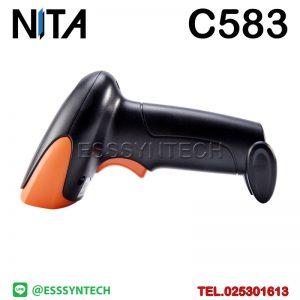 เครื่องสแกนบาร์โค้ดไร้สาย เครื่องอ่านบาร์โค้ดไร้สาย หัวอ่าน 1 มิติ NITA C583 1D Wireless Barcode Scanner USB มีแบตเตอร์รี่ในตัว สลับภาษาอัตโนมัติได้ ยิงบาร์โค้ดตอนคีย์บอร์ดเป็นภาษาไทยได้