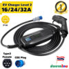 Type 2 EV Charger Level 2 16/24/32A adjustable Portable Electric Vehicle Charger, CEE Plug 100V-250V Car Charging Cable, IEC 62196-2
